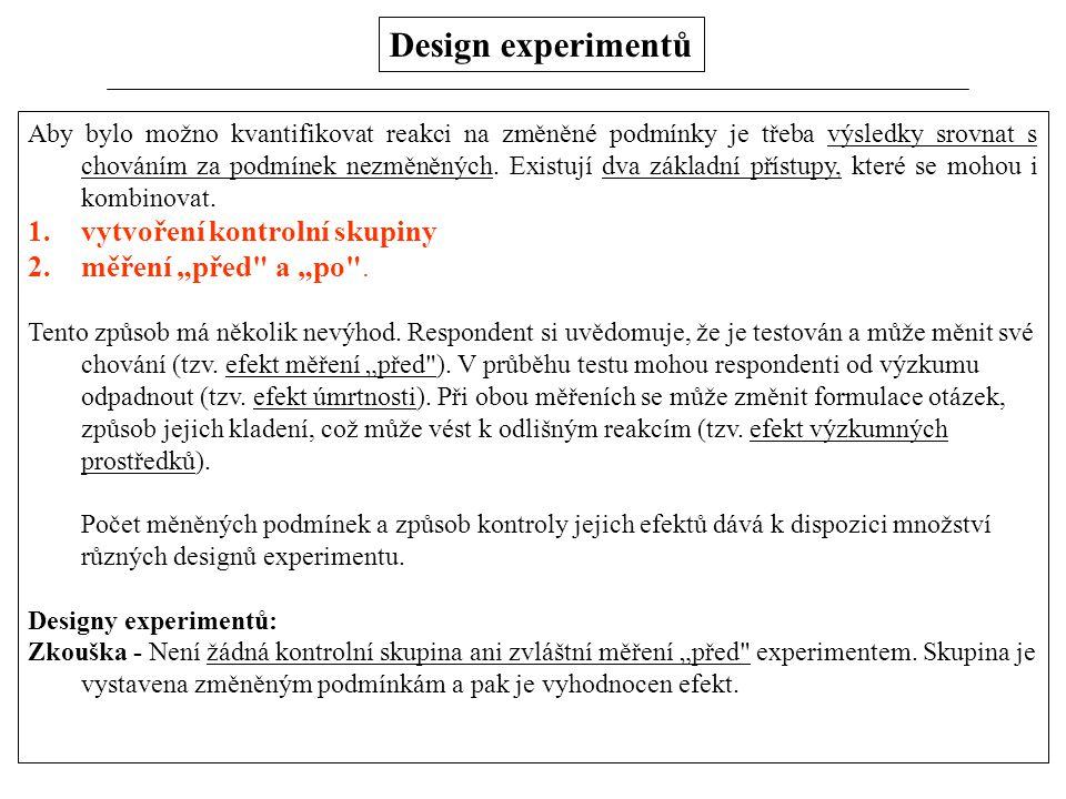 """Design experimentů vytvoření kontrolní skupiny měření """"před a """"po ."""
