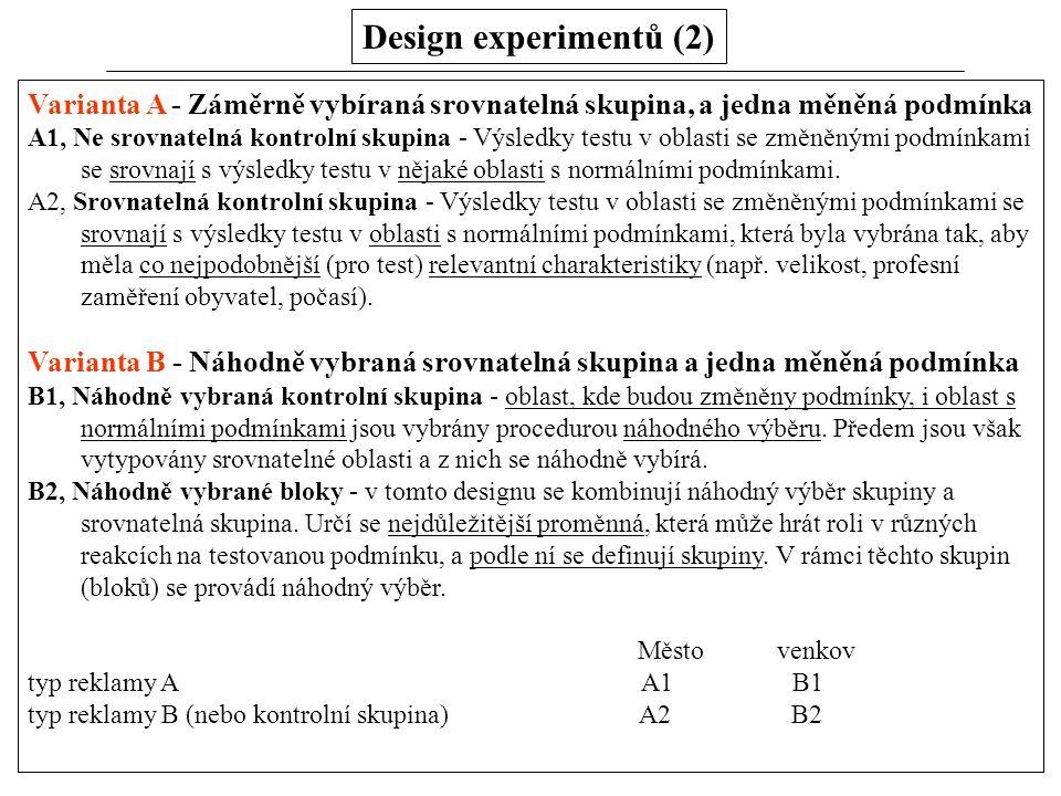 Design experimentů (2) Varianta A - Záměrně vybíraná srovnatelná skupina, a jedna měněná podmínka.