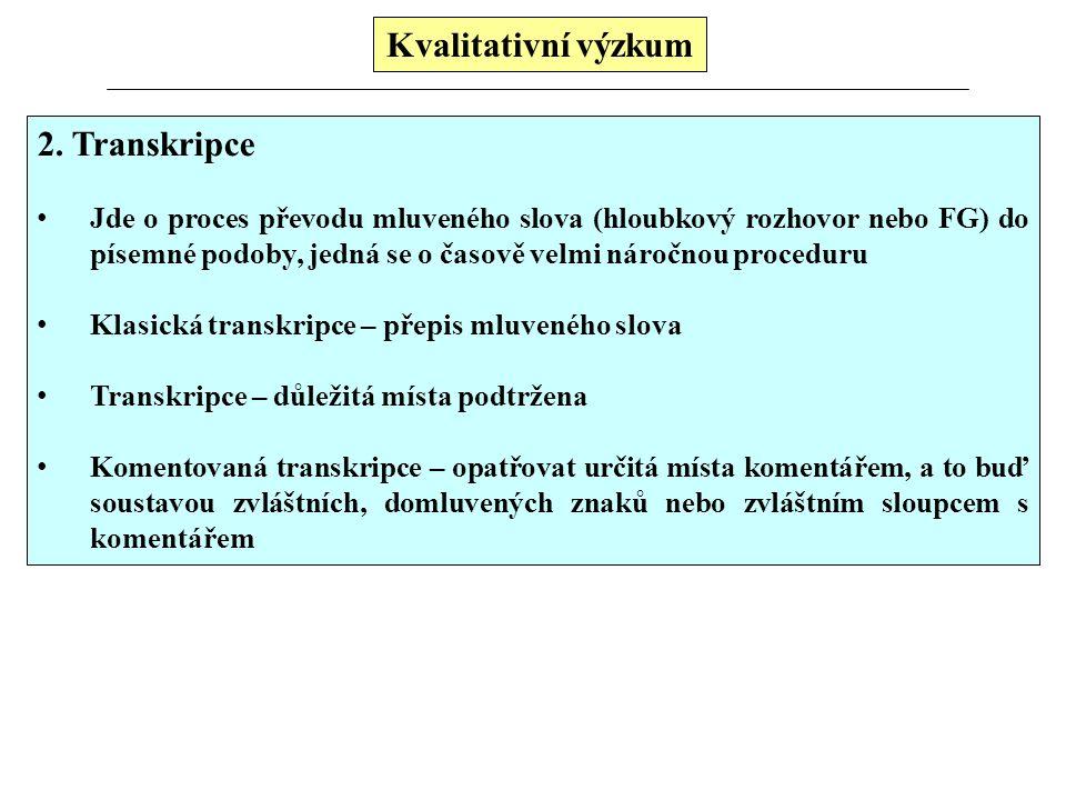 Kvalitativní výzkum 2. Transkripce