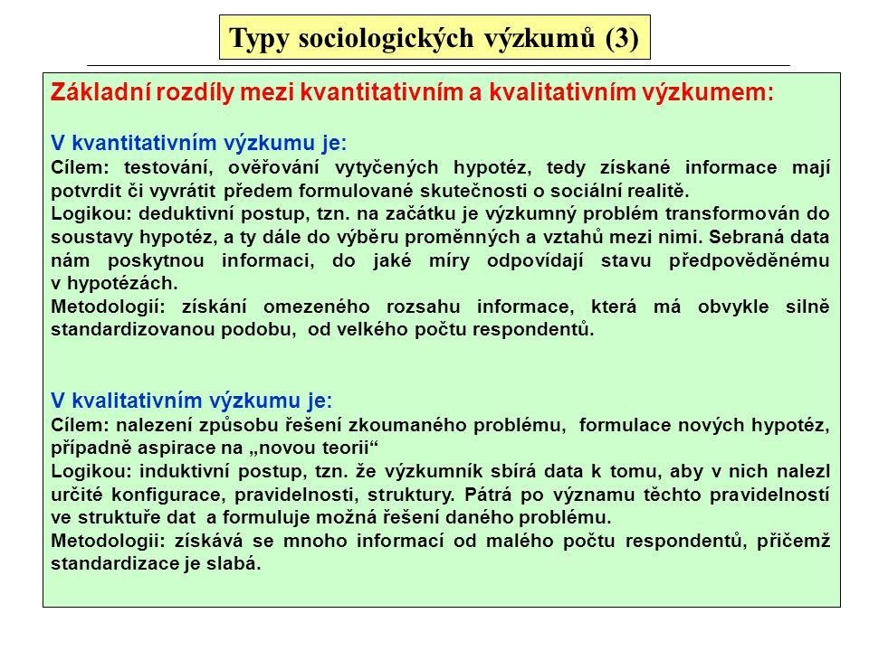 Typy sociologických výzkumů (3)