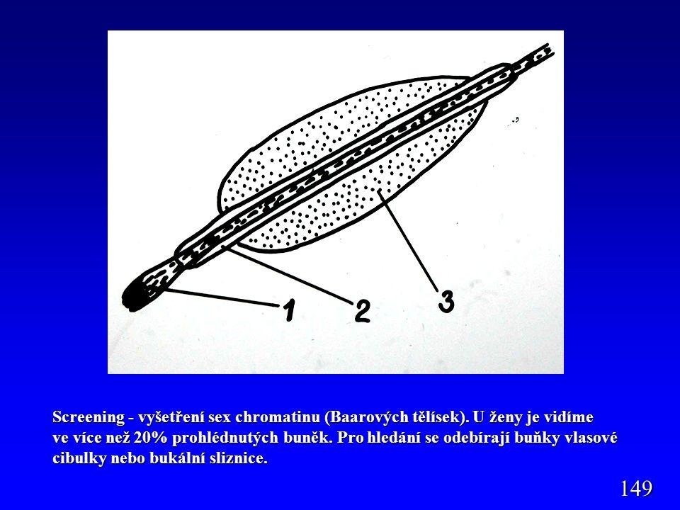 Screening - vyšetření sex chromatinu (Baarových tělísek)