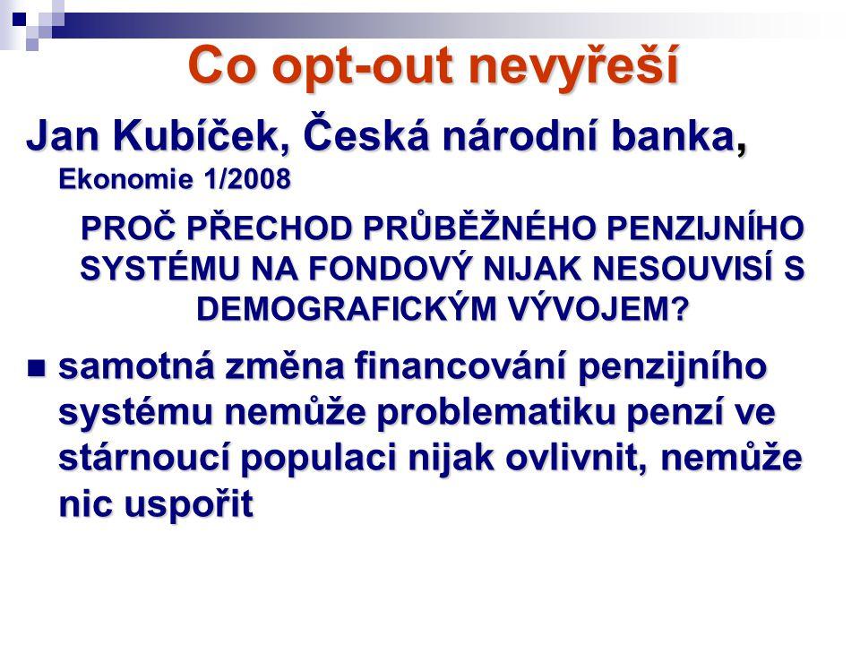 Co opt-out nevyřeší Jan Kubíček, Česká národní banka, Ekonomie 1/2008