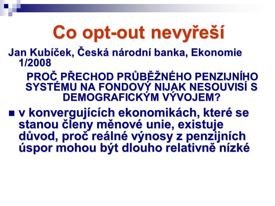 Co opt-out nevyřeší Jan Kubíček, Česká národní banka, Ekonomie 1/2008.