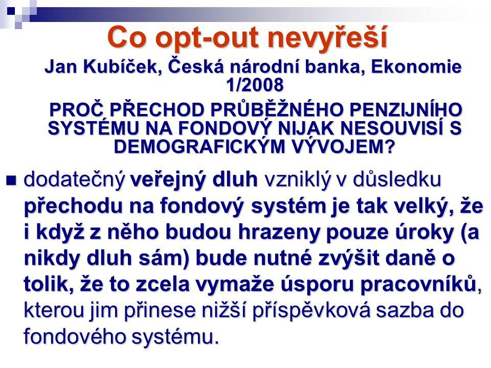 Jan Kubíček, Česká národní banka, Ekonomie 1/2008