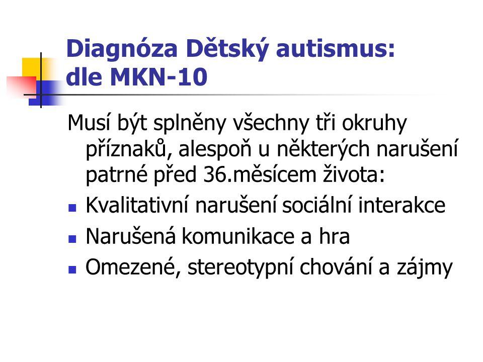 Diagnóza Dětský autismus: dle MKN-10