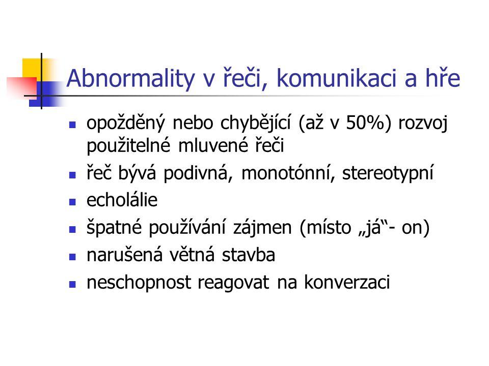 Abnormality v řeči, komunikaci a hře
