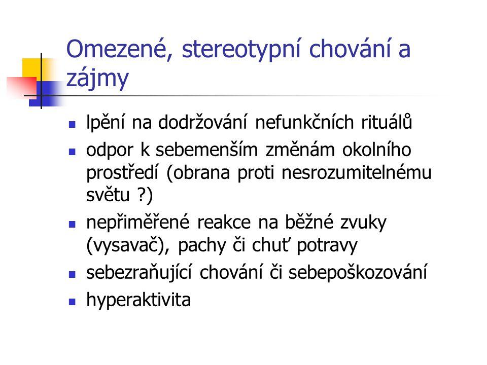 Omezené, stereotypní chování a zájmy