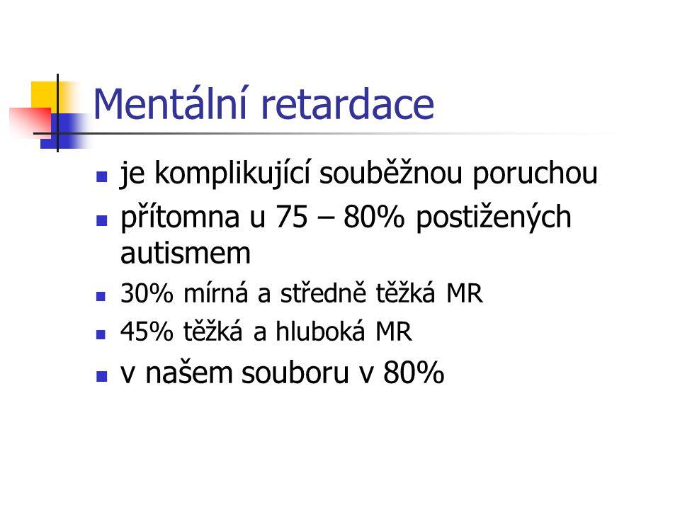 Mentální retardace je komplikující souběžnou poruchou