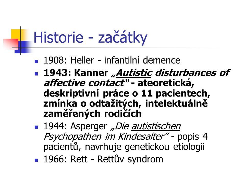 Historie - začátky 1908: Heller - infantilní demence
