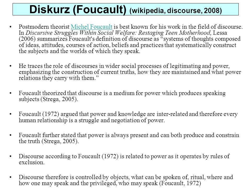 Diskurz (Foucault) (wikipedia, discourse, 2008)