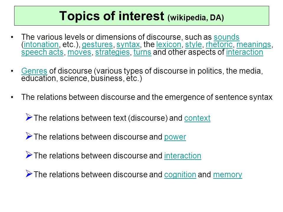Topics of interest (wikipedia, DA)