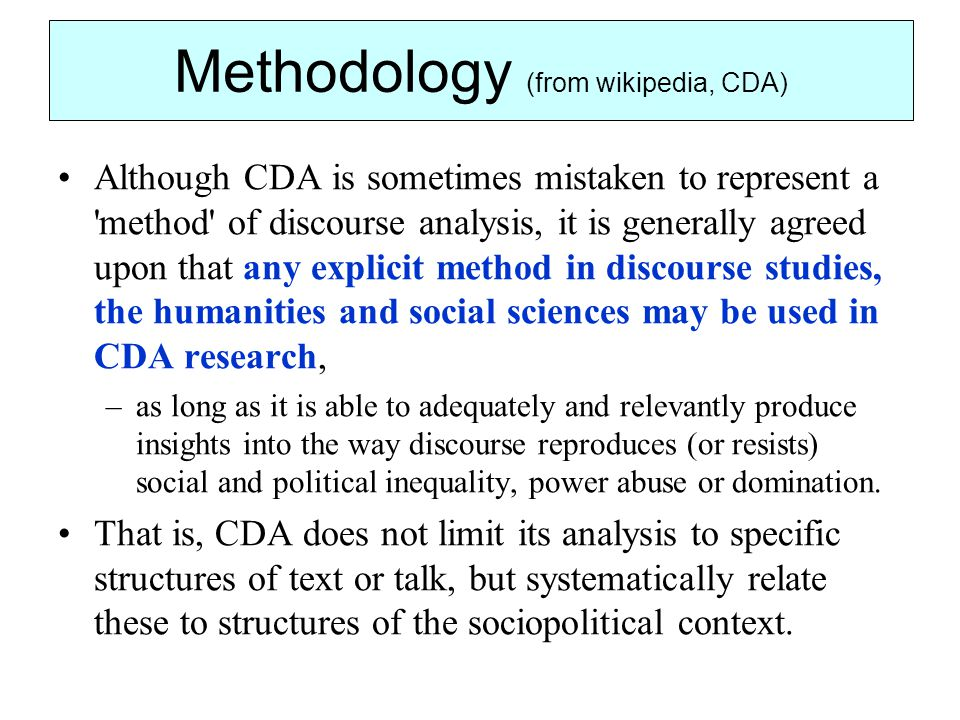 Methodology (from wikipedia, CDA)