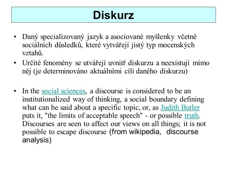 Diskurz Daný specializovaný jazyk a asociované myšlenky včetně sociálních důsledků, které vytvářejí jistý typ mocenských vztahů.