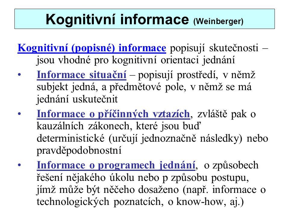 Kognitivní informace (Weinberger)