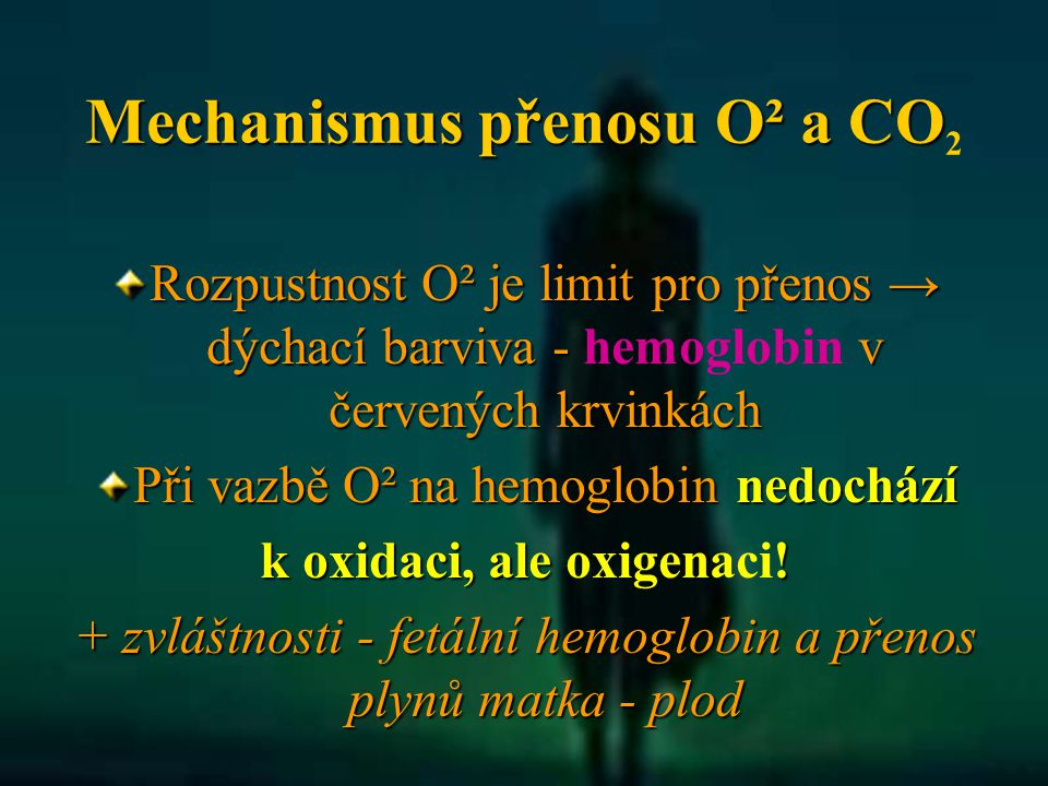 Mechanismus přenosu O² a CO2