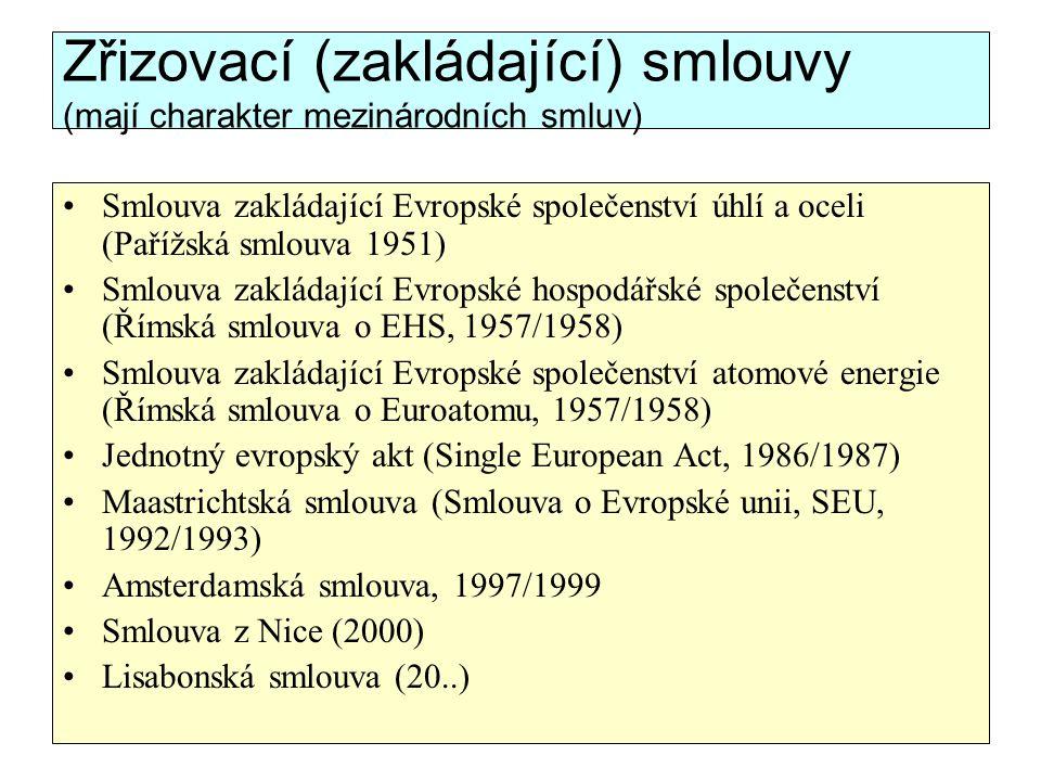 Zřizovací (zakládající) smlouvy (mají charakter mezinárodních smluv)