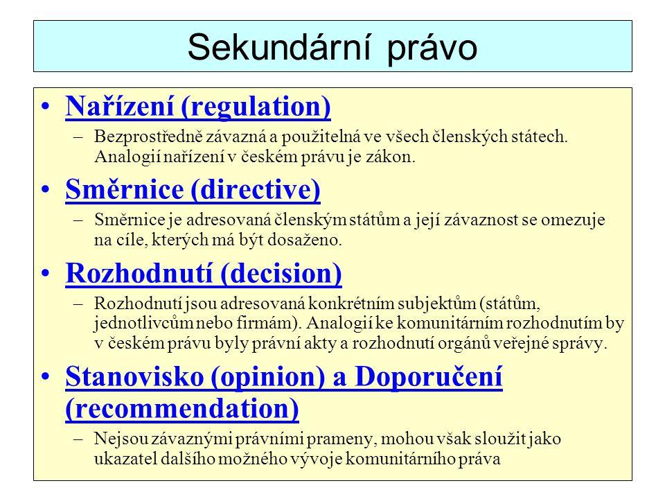 Sekundární právo Nařízení (regulation) Směrnice (directive)