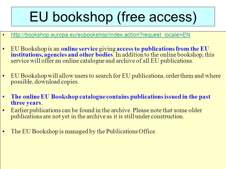 EU bookshop (free access)