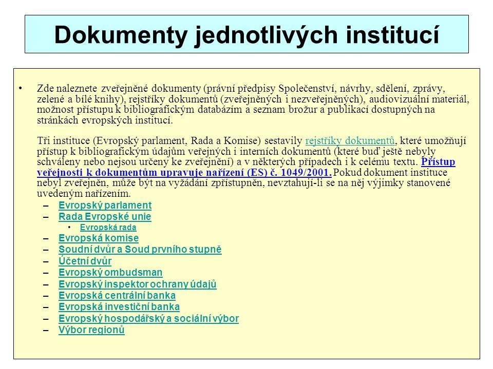 Dokumenty jednotlivých institucí