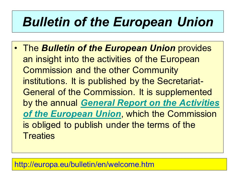 Bulletin of the European Union