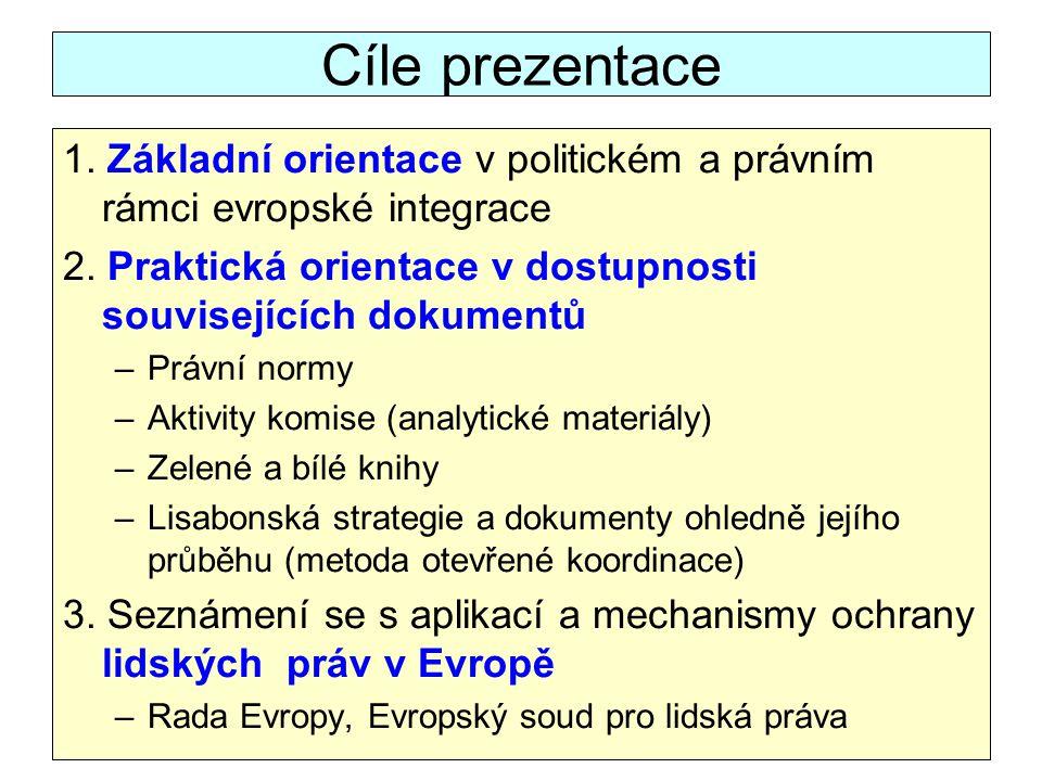 Cíle prezentace 1. Základní orientace v politickém a právním rámci evropské integrace. 2. Praktická orientace v dostupnosti souvisejících dokumentů.