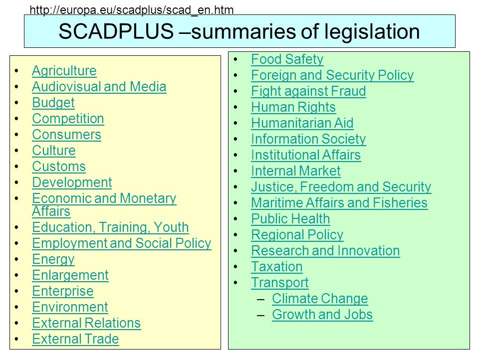 SCADPLUS –summaries of legislation