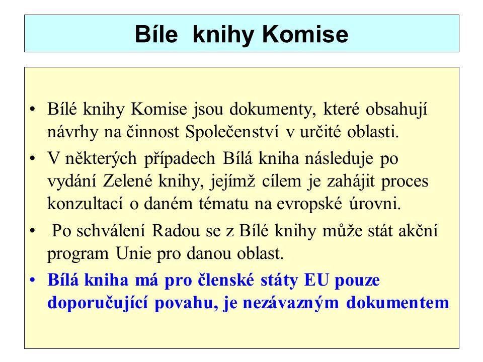 Bíle knihy Komise Bílé knihy Komise jsou dokumenty, které obsahují návrhy na činnost Společenství v určité oblasti.