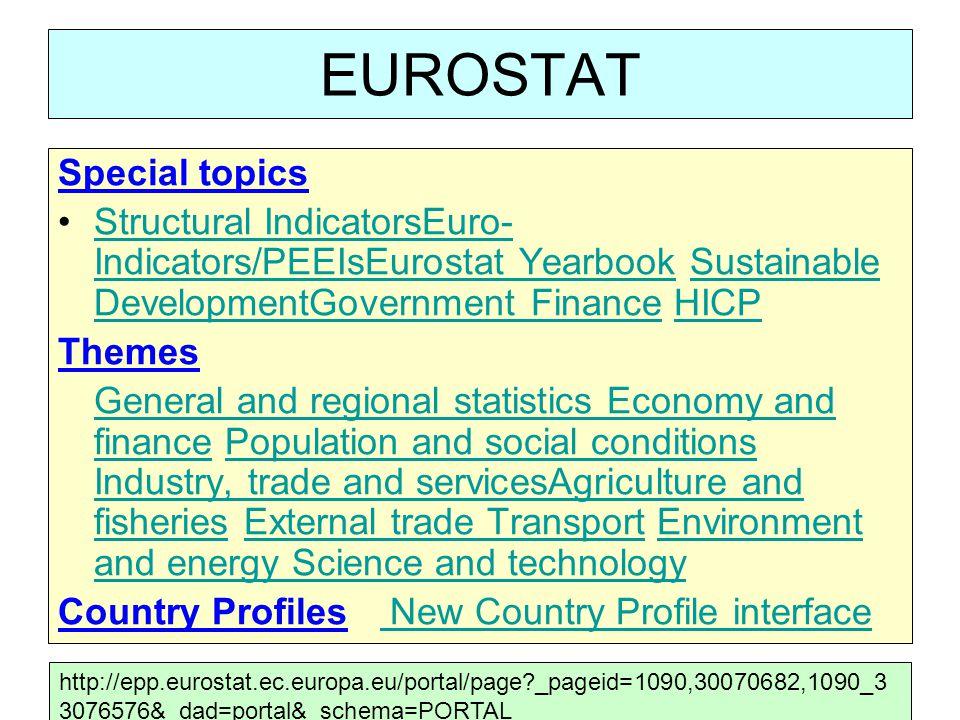 EUROSTAT Special topics
