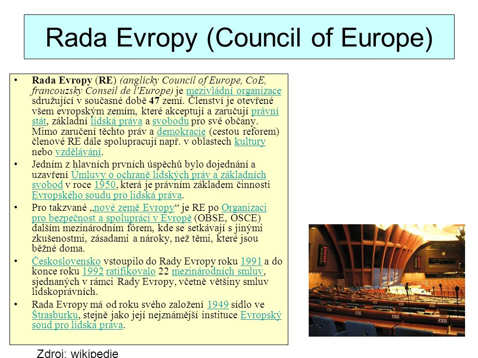 Rada Evropy (Council of Europe)