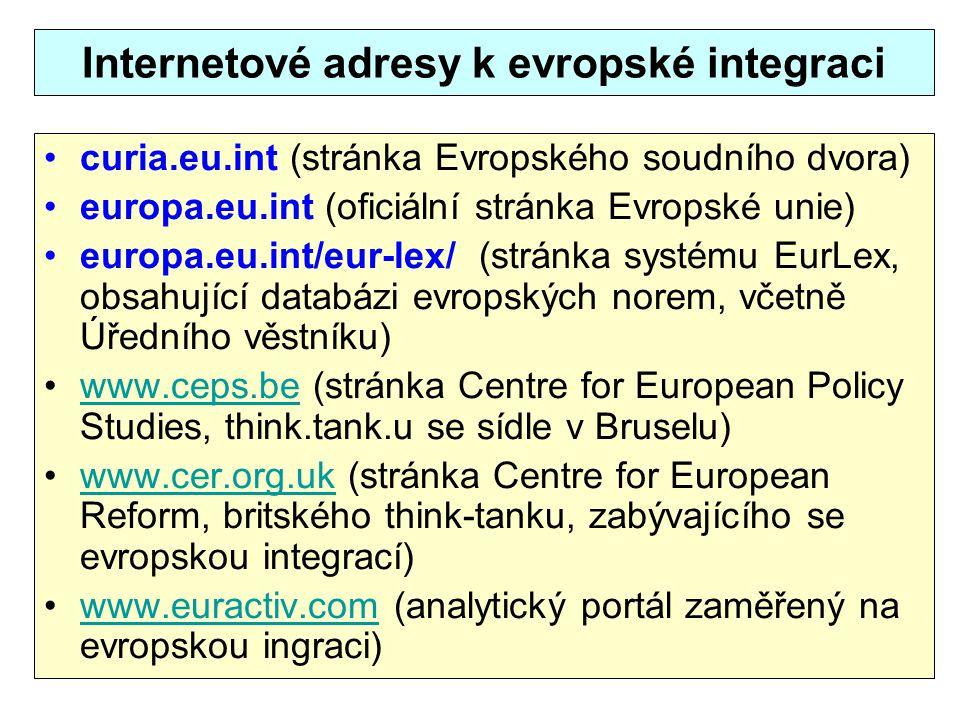 Internetové adresy k evropské integraci