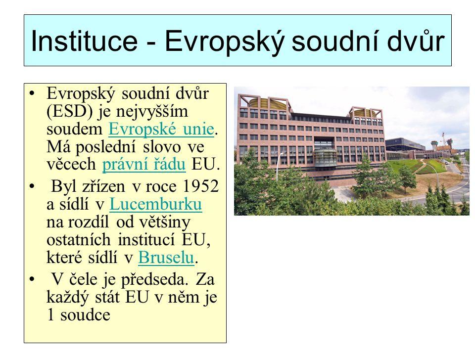 Instituce - Evropský soudní dvůr