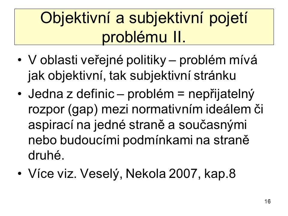 Objektivní a subjektivní pojetí problému II.