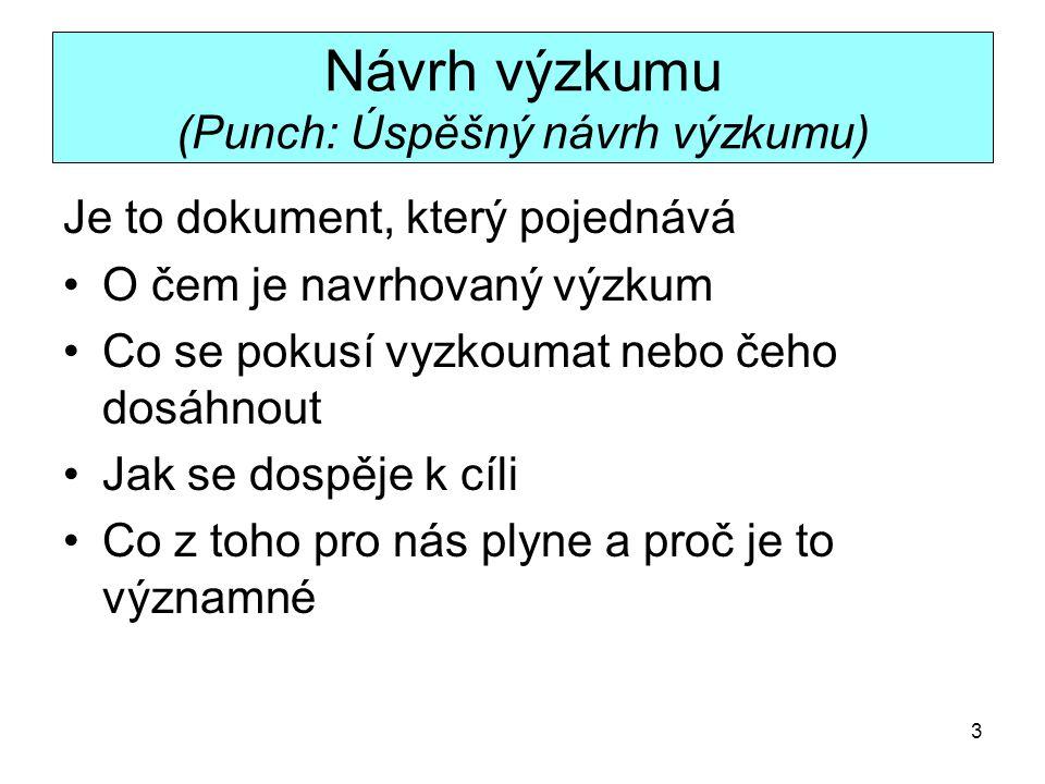 Návrh výzkumu (Punch: Úspěšný návrh výzkumu)