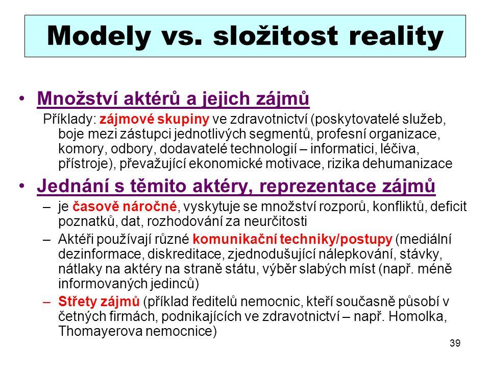Modely vs. složitost reality
