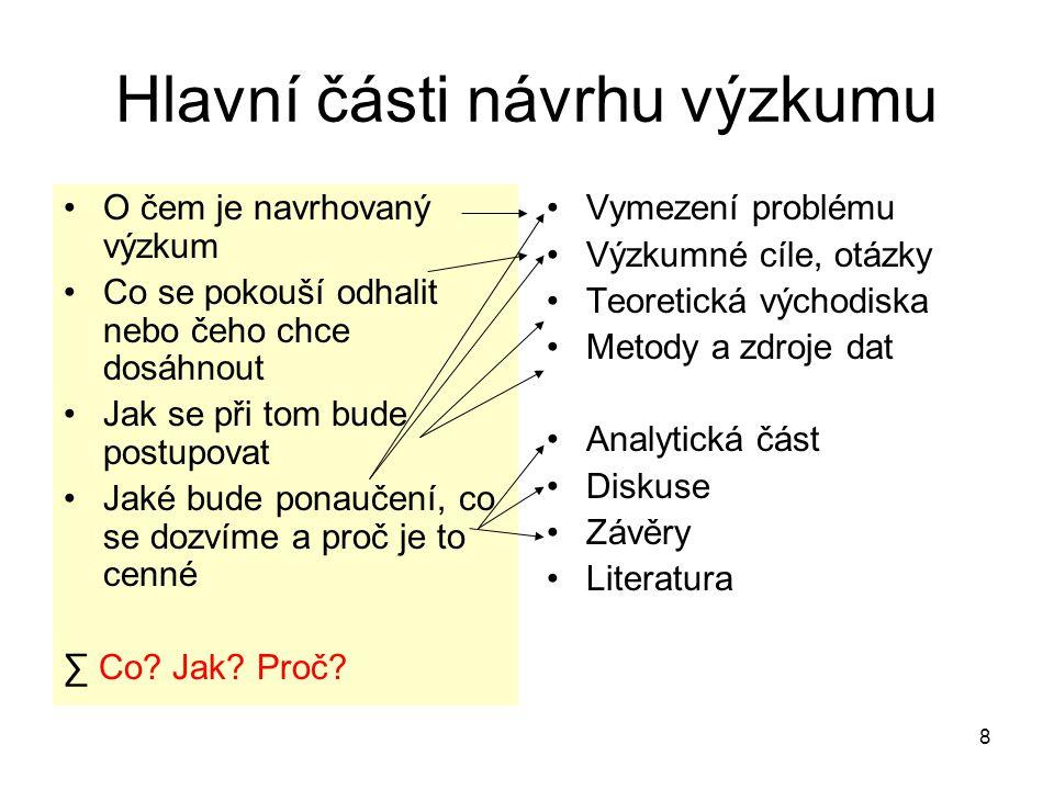 Hlavní části návrhu výzkumu
