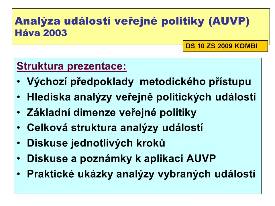 Analýza událostí veřejné politiky (AUVP) Háva 2003
