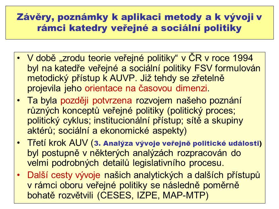 Závěry, poznámky k aplikaci metody a k vývoji v rámci katedry veřejné a sociální politiky