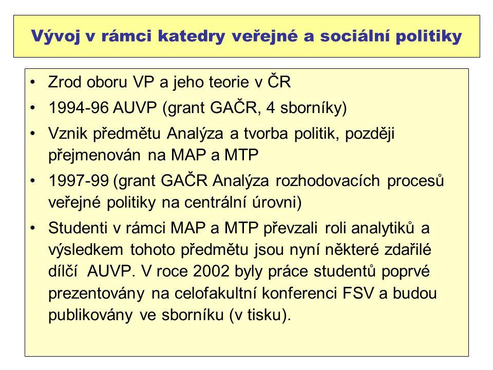 Vývoj v rámci katedry veřejné a sociální politiky