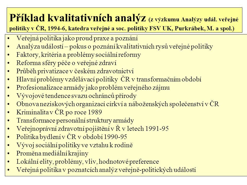 Příklad kvalitativních analýz (z výzkumu Analýzy udál