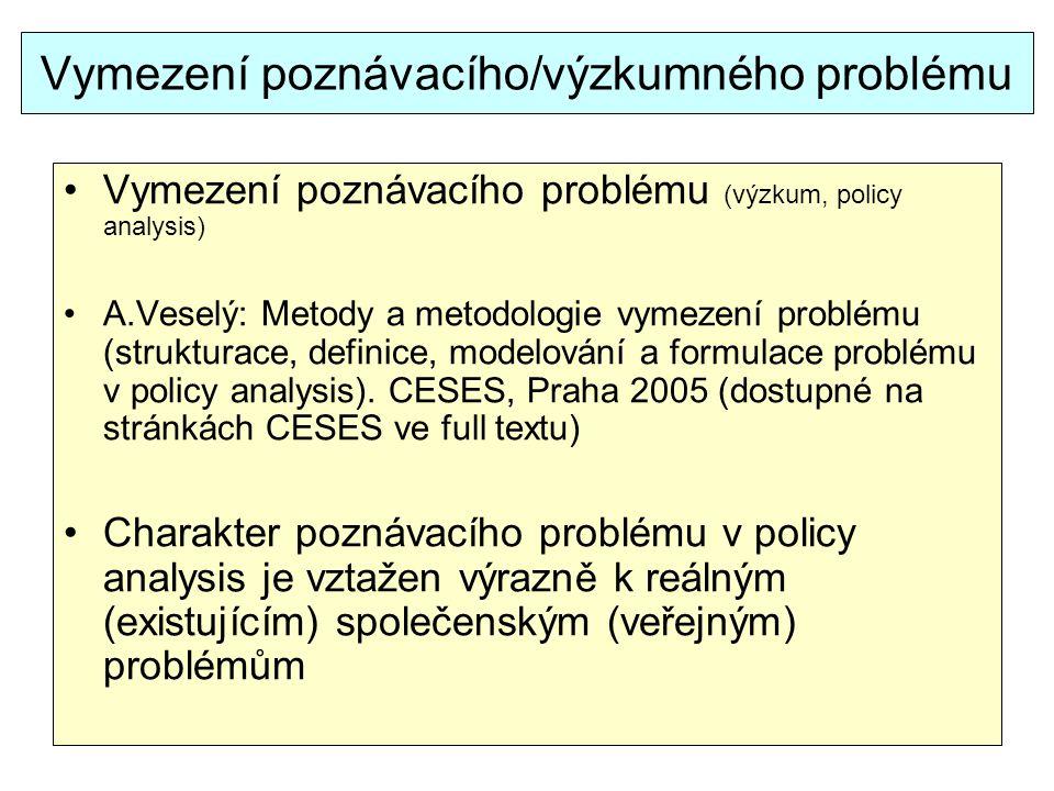 Vymezení poznávacího/výzkumného problému