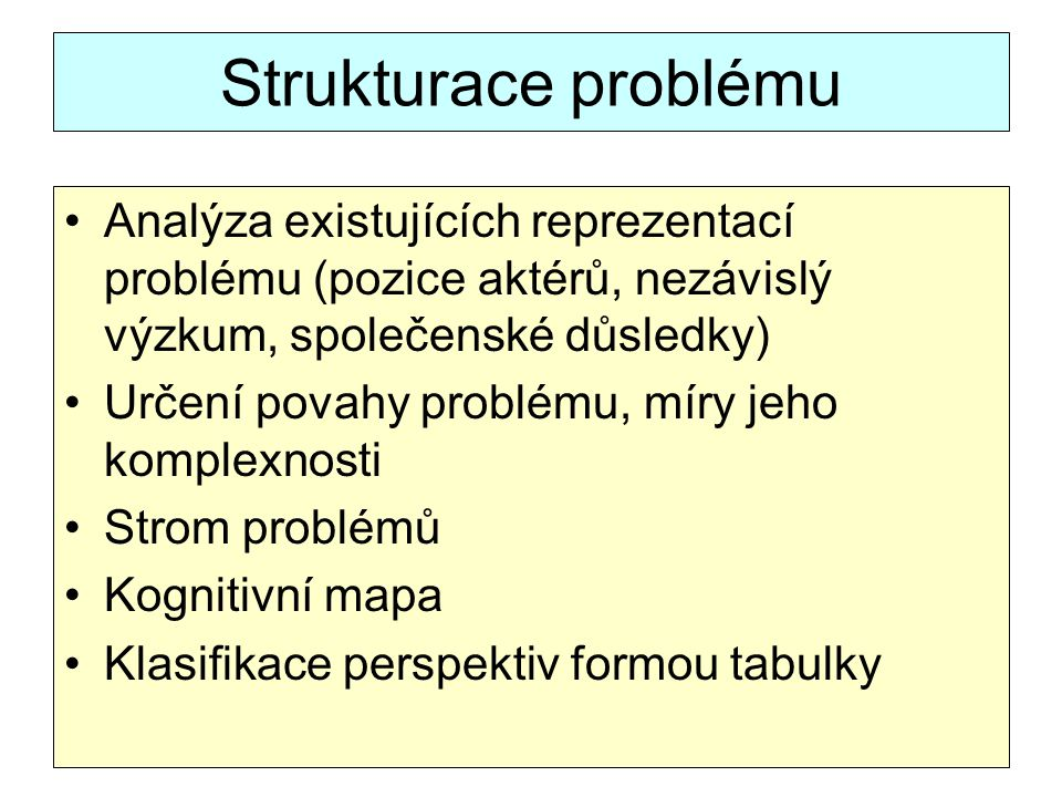 Strukturace problému Analýza existujících reprezentací problému (pozice aktérů, nezávislý výzkum, společenské důsledky)
