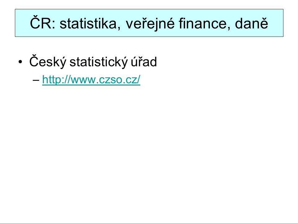 ČR: statistika, veřejné finance, daně