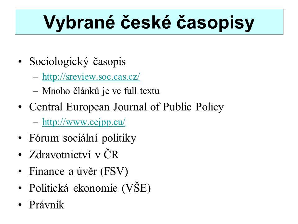Vybrané české časopisy
