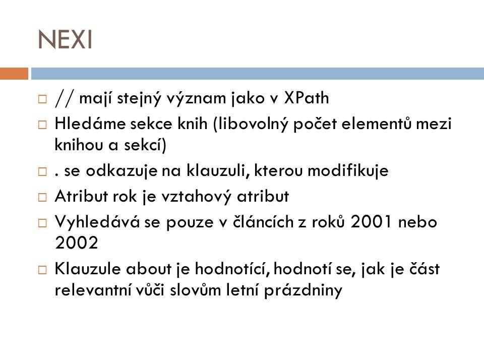 NEXI // mají stejný význam jako v XPath