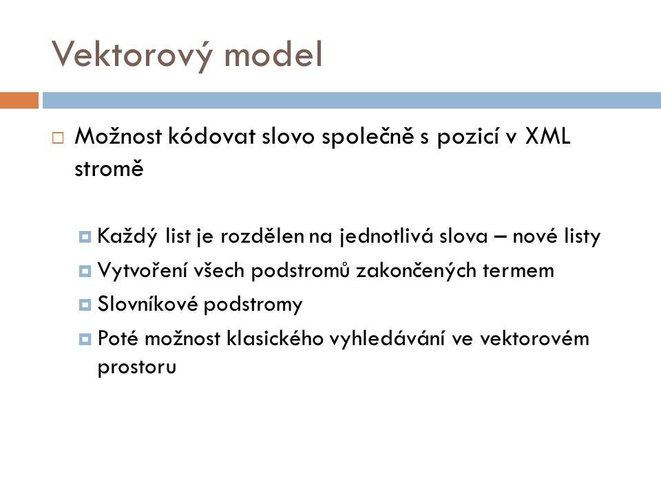 Vektorový model Možnost kódovat slovo společně s pozicí v XML stromě