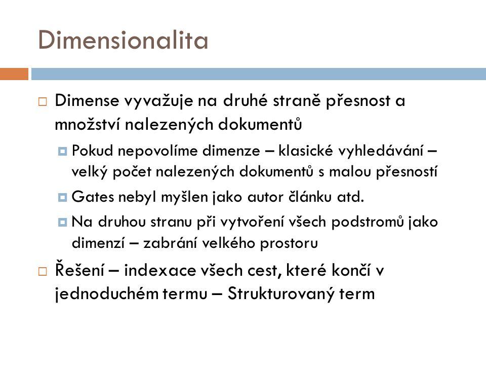 Dimensionalita Dimense vyvažuje na druhé straně přesnost a množství nalezených dokumentů.