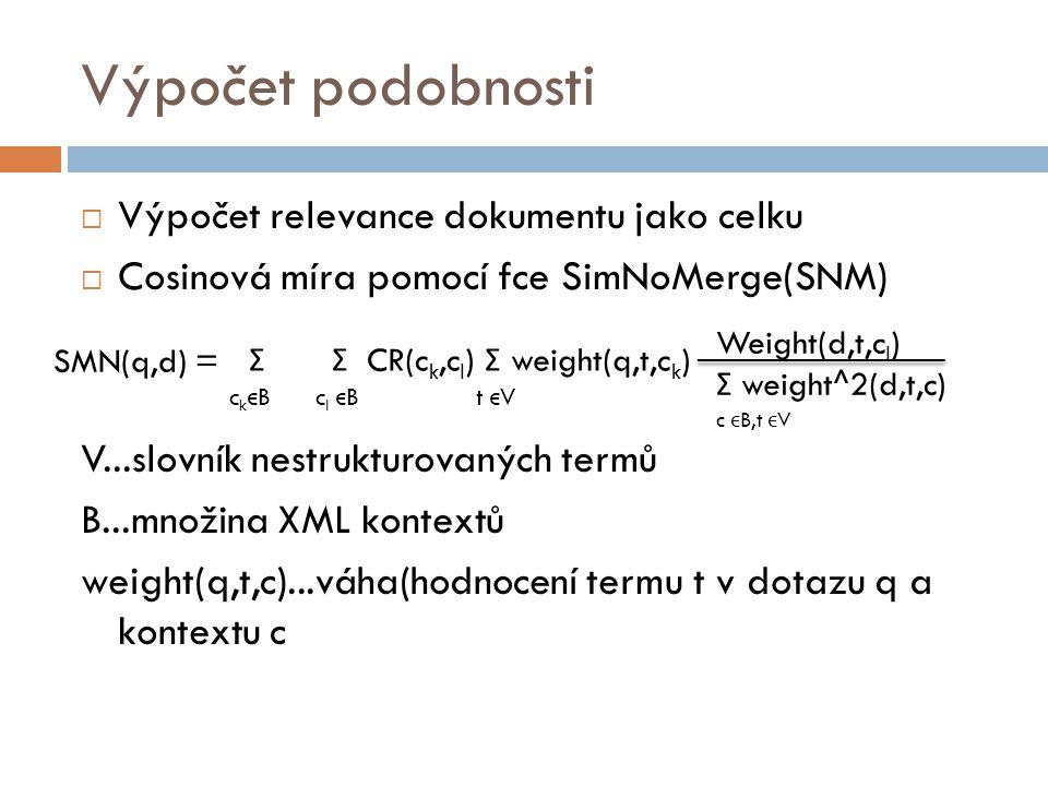 Výpočet podobnosti Výpočet relevance dokumentu jako celku