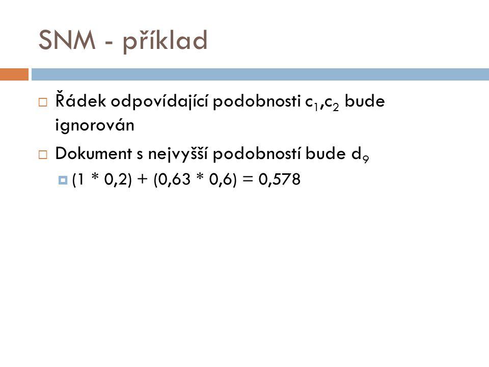 SNM - příklad Řádek odpovídající podobnosti c1,c2 bude ignorován