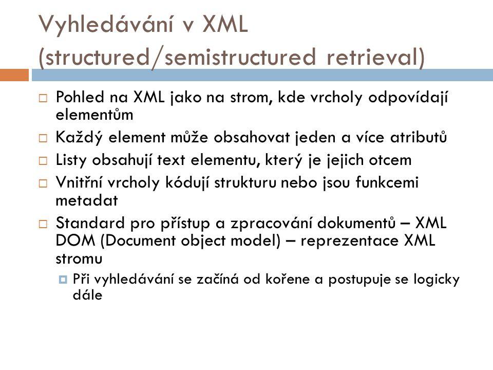 Vyhledávání v XML (structured/semistructured retrieval)