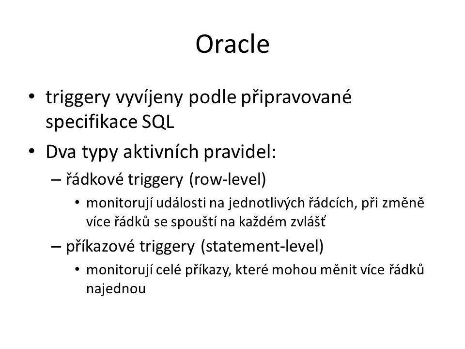 Oracle triggery vyvíjeny podle připravované specifikace SQL